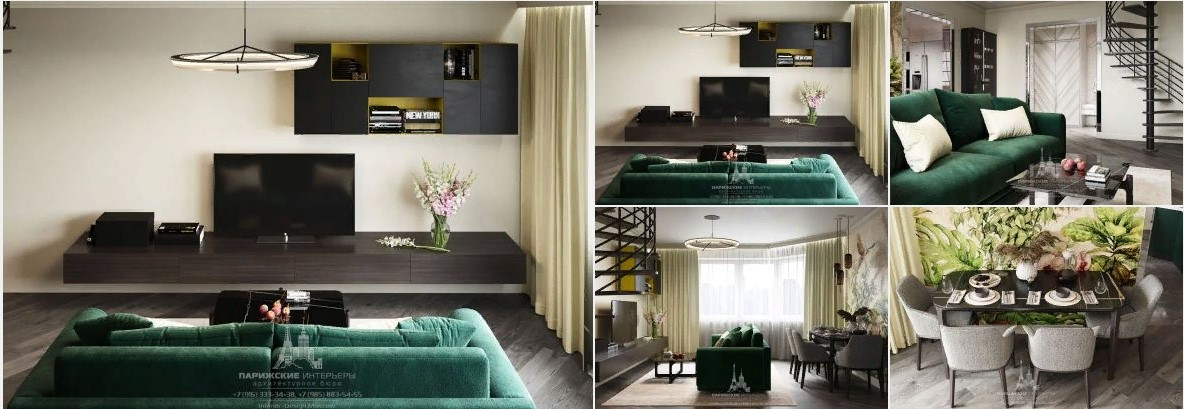 Современный дизайн двухуровневой квартиры с фресками