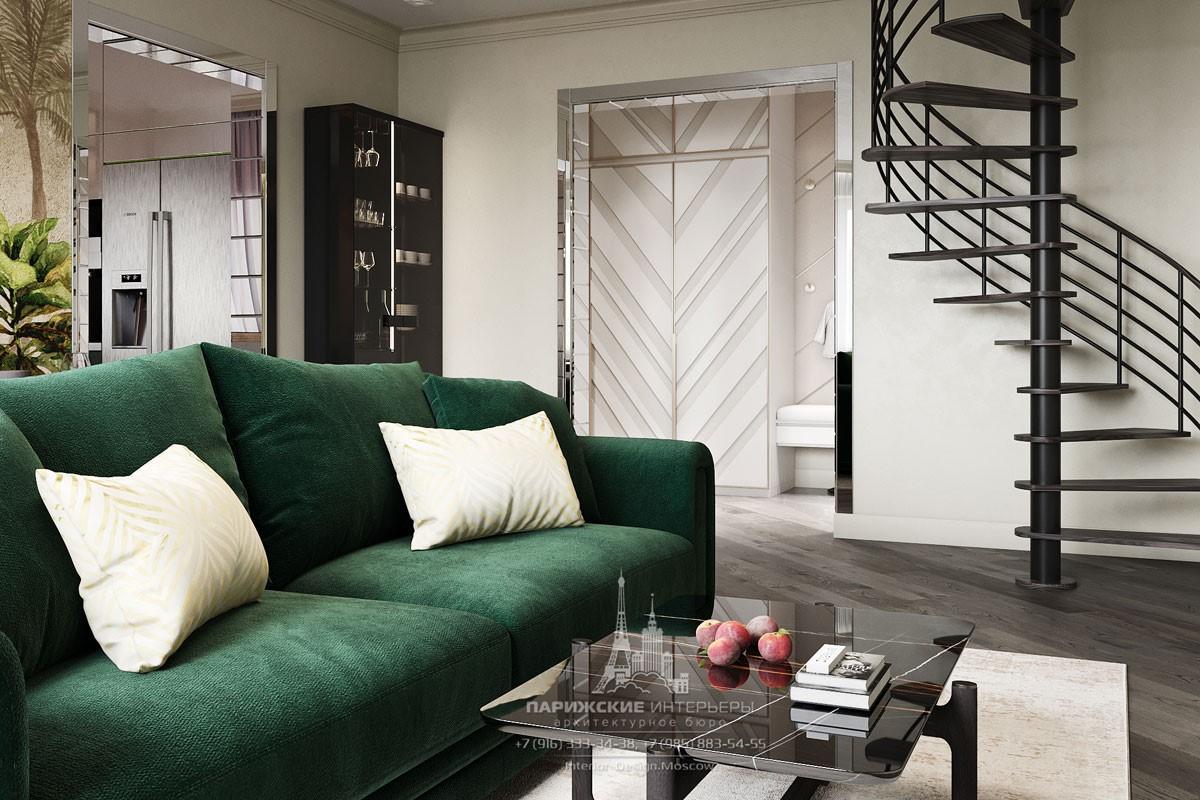 Современный дизайн гостиной с винтовой лестницей