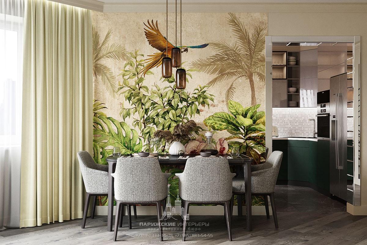 Дизайн современной столовой с яркой фреской