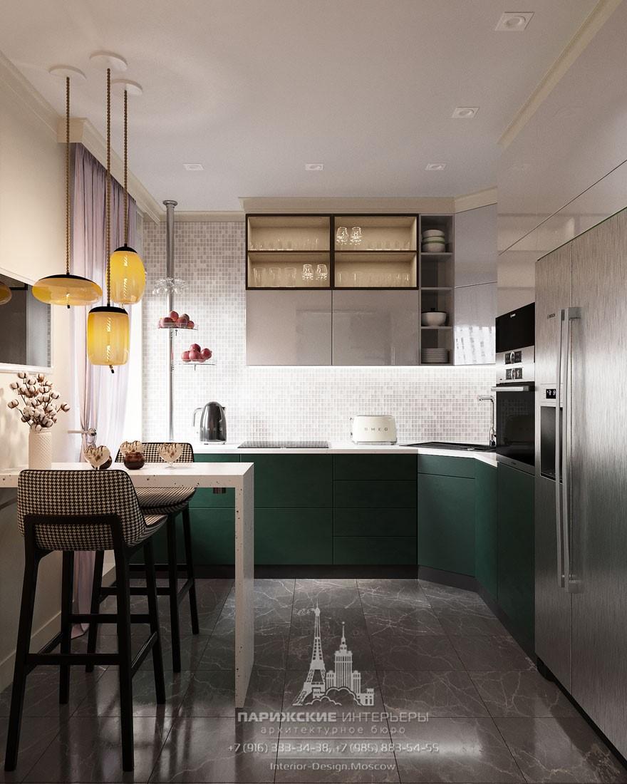 Современный дизайн маленькой кухни с барной стойкой