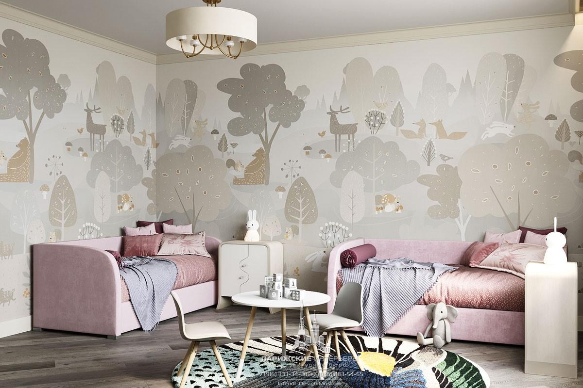 Интерьер современной детской комнаты для двух девочек