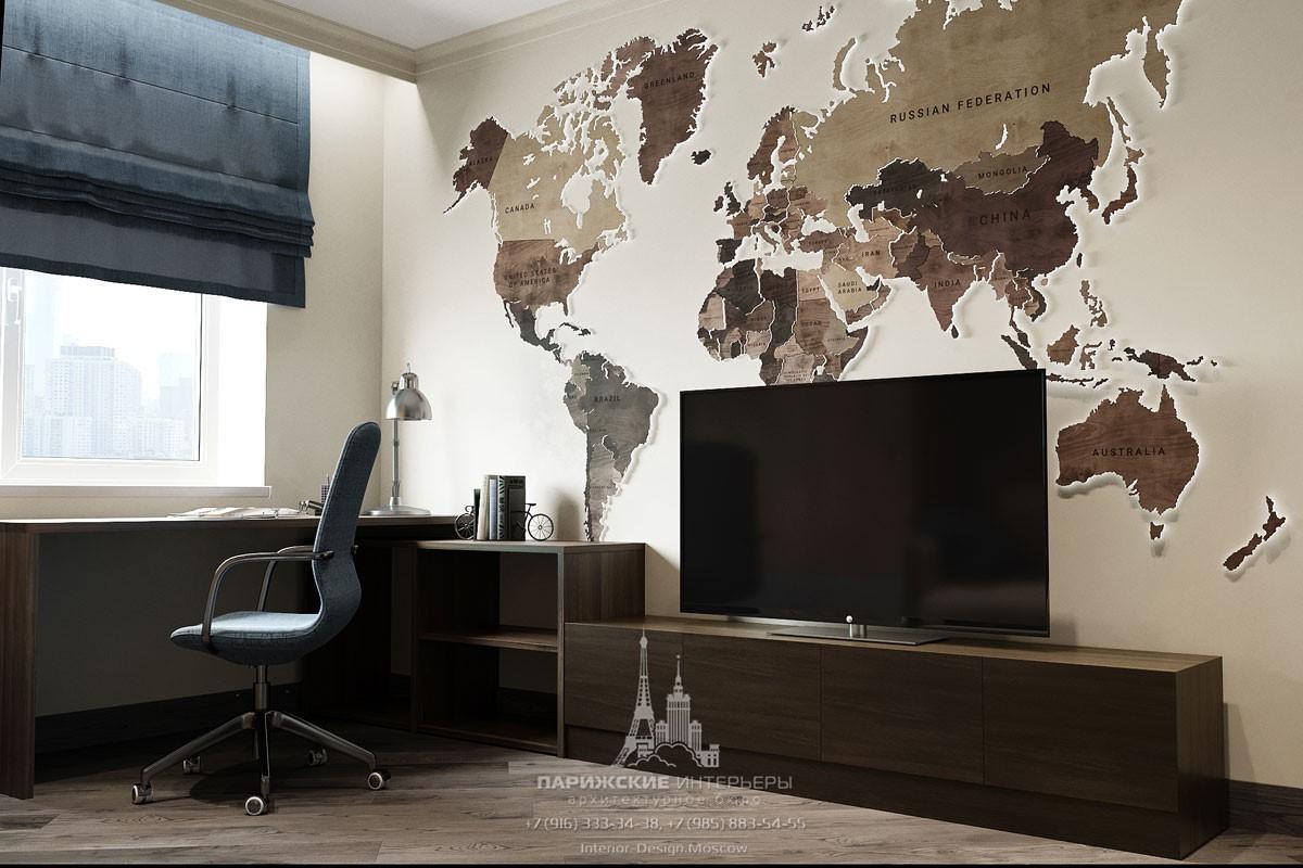 Дизайн современной комнаты дл мальчика с декоративным панно