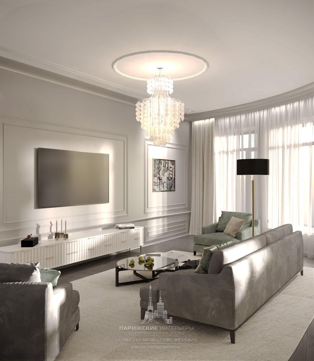 Современная гостиная в серых тонах
