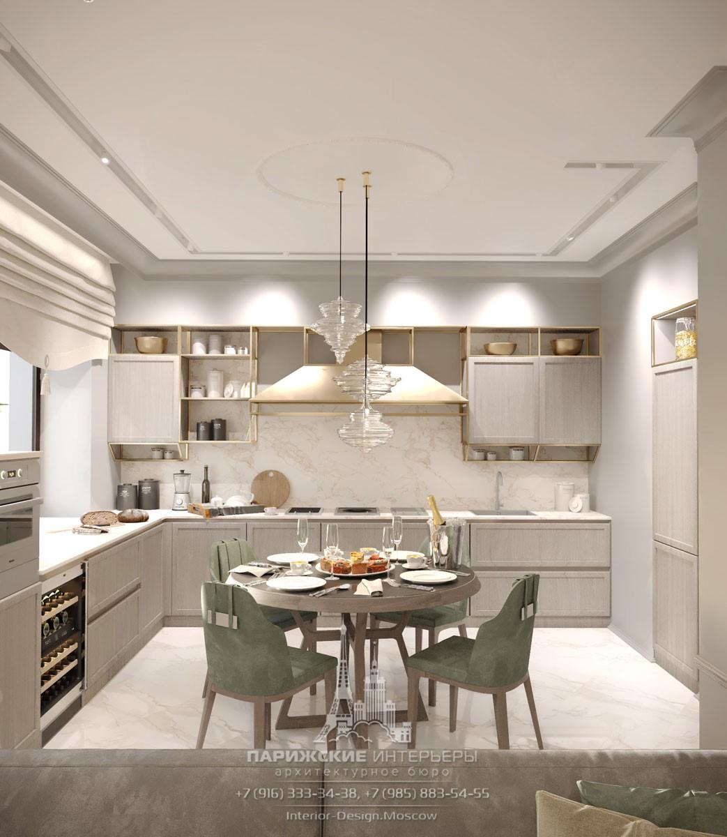 Современный дизайн кухни в серых тонах со столовой зоной