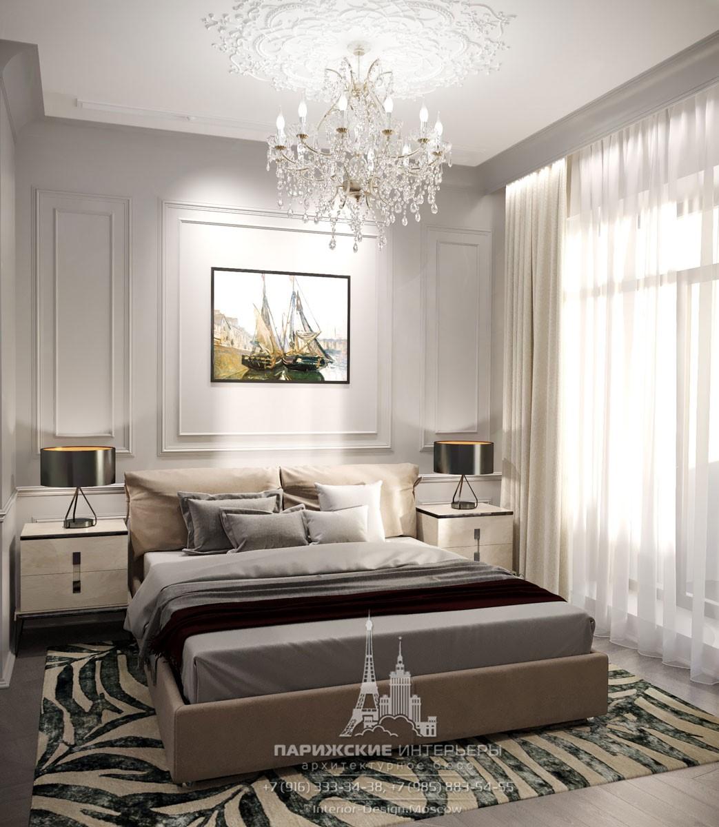 Дизайн современной спальни с дворцовой люстрой