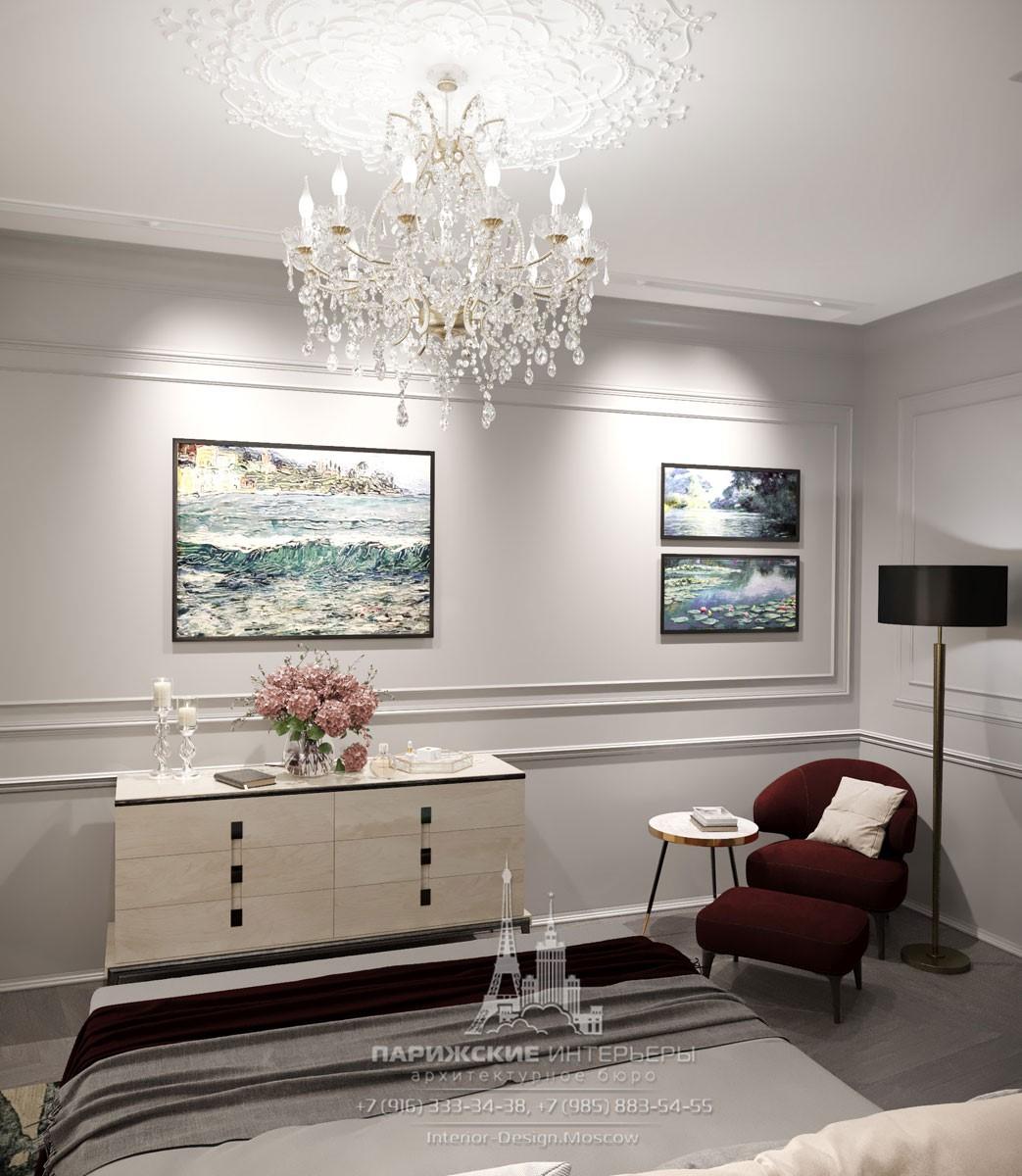 Дизайн спальни в современном стиле с ярким креслом