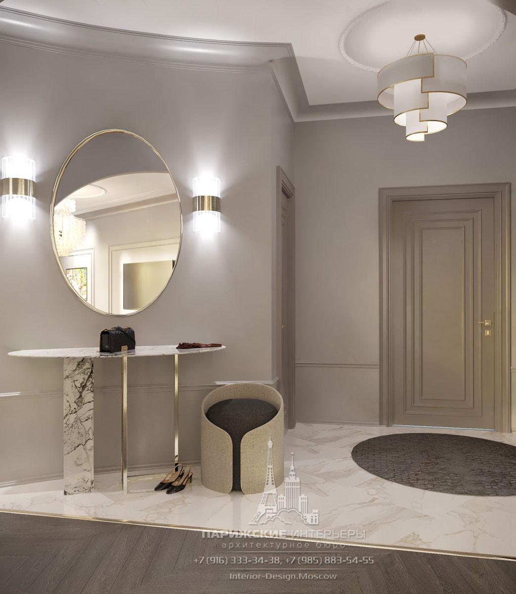 Современный дизайн коридора входной зоны с зеркалом
