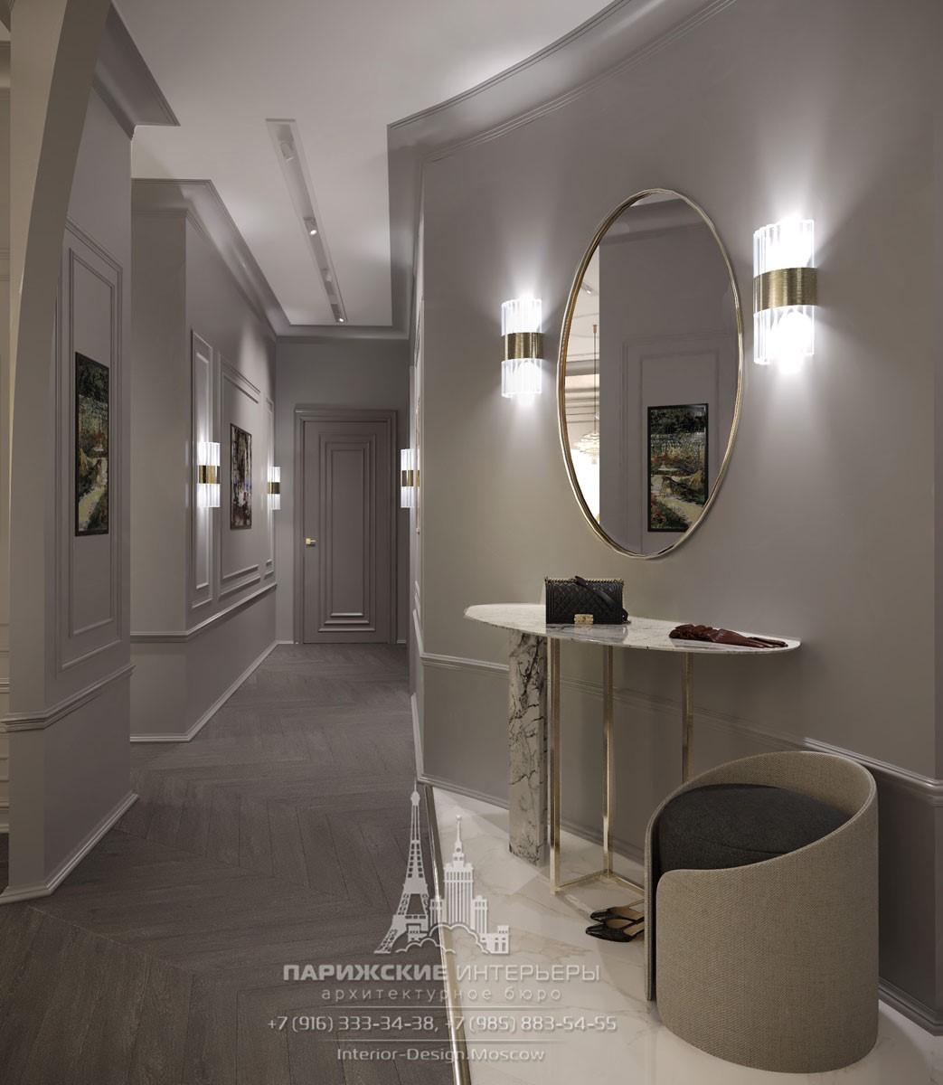 Современный дизайн коридора в светлых тонах
