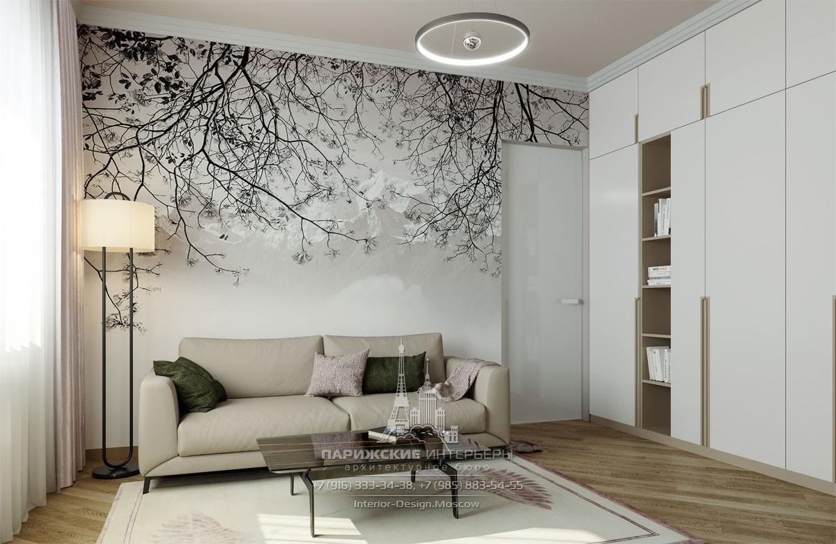 Современная гостиная в светлых тонах с фреской