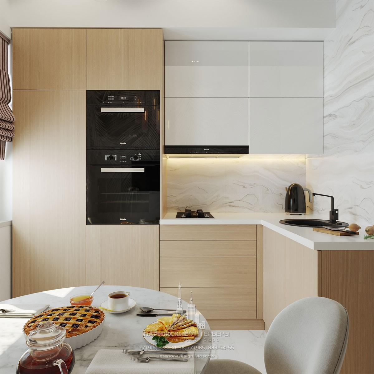 Современный дизайн маленькой кухни с угловой планировкой