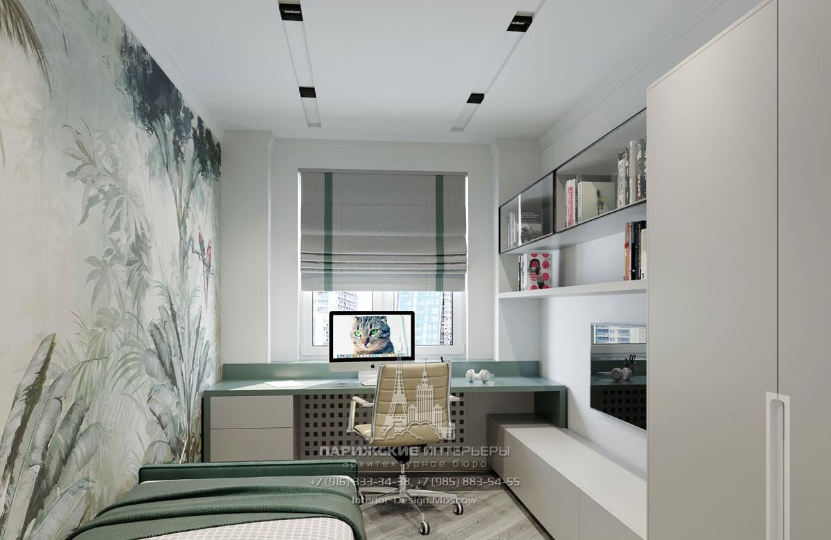 Детская комната в современном стиле с рабочим местом у окна