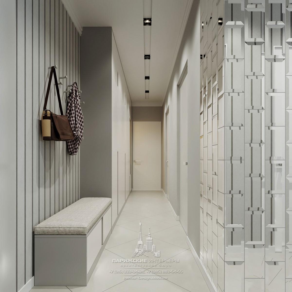 Современный дизайн коридора в серых тонах