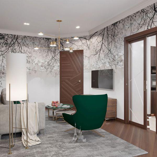 Дизайн интерьера гостиной в парижском стиле