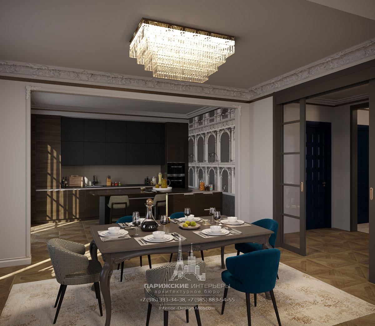 Интерьер столовой загородного дома в парижском стиле
