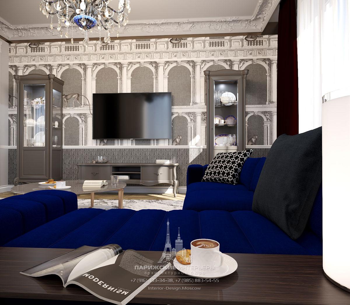 Интерьер загородного дома – гостиная с фреской и парными витринами