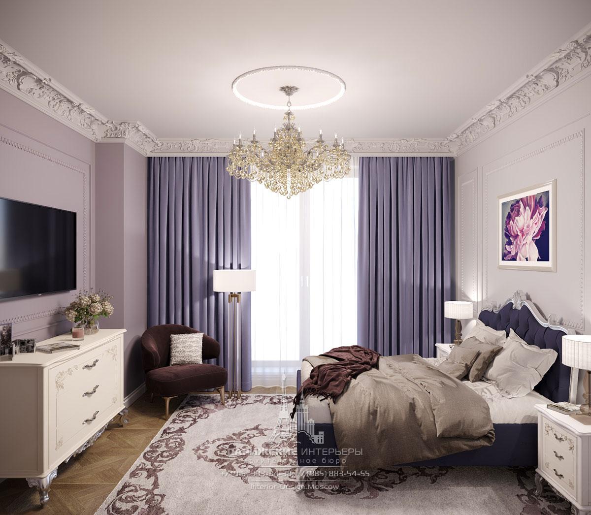Интерьер классической спальни в загородном доме
