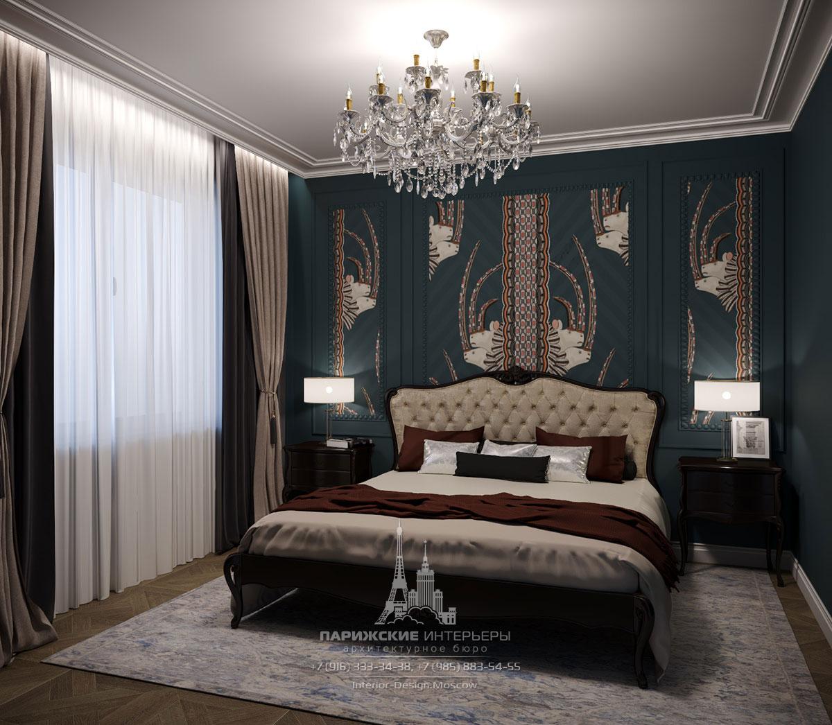 Интерьер загородного дома в парижском стиле – спальня с акцентной стеной