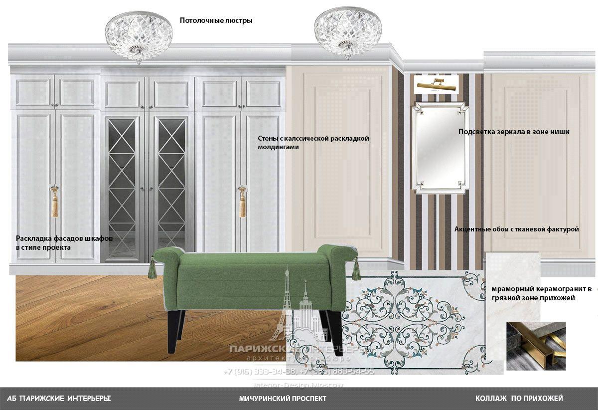 Подбор мебели для прихожей в классическом стиле – коллаж дизайнера