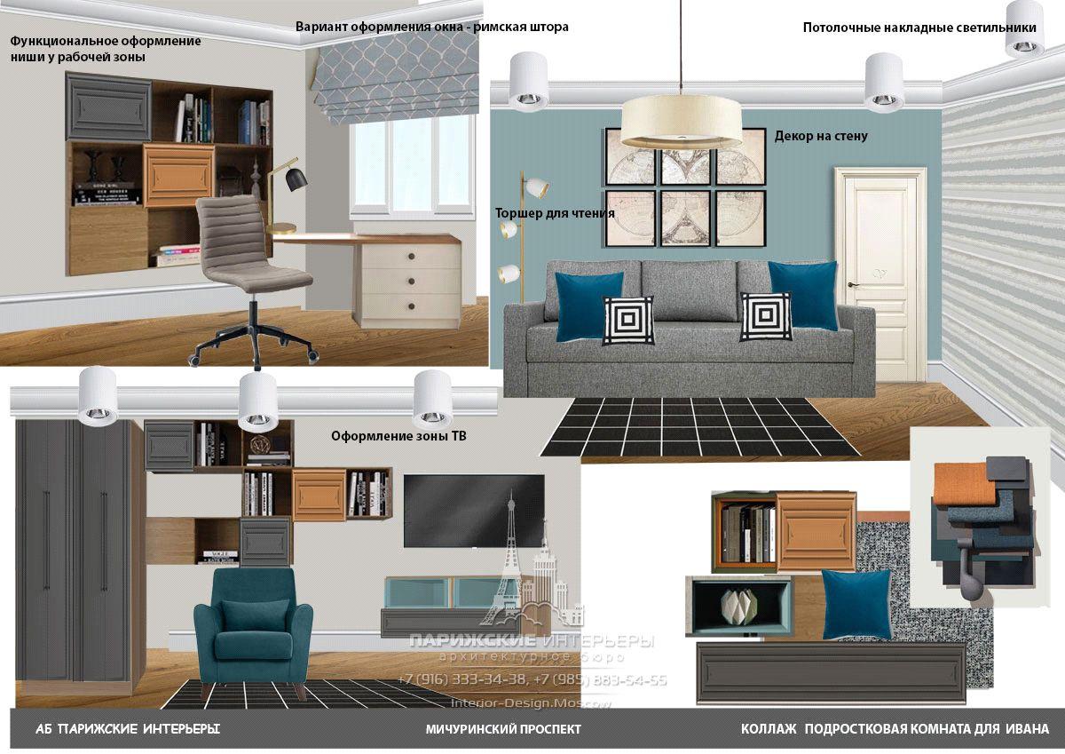 Услуги подбора мебели и текстиля дизайнером – современная детская с картой мира на стене