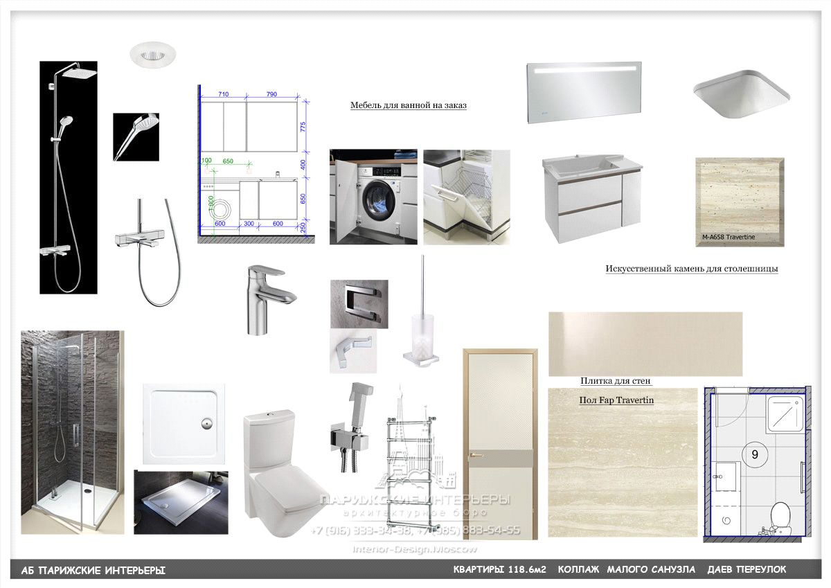 Услуги дизайнера по подбору мебели – коллаж санузла в современном стиле