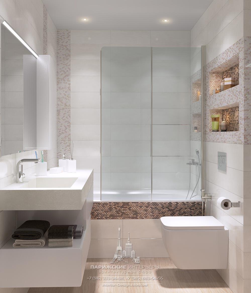 Дизайн современной ванной комнаты с мозаичным декором