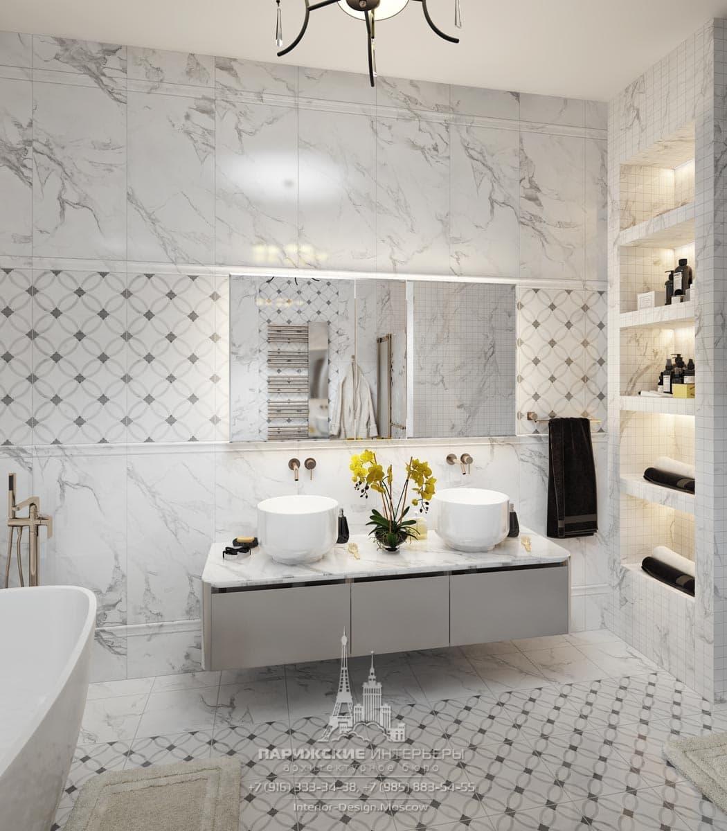Интерьер ванной комнаты в светлых тонах – парижский стиль