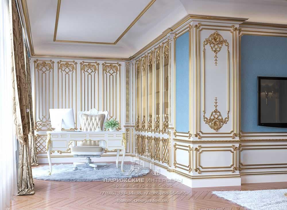 Интерьер кабинета в классическом стиле с золотистым декором