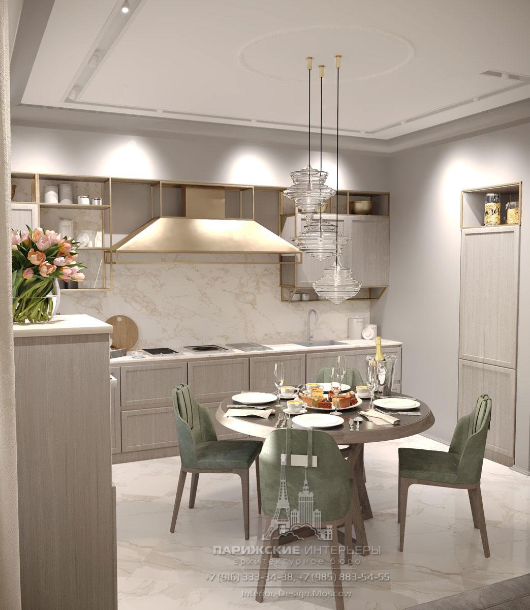 Интерьер светлой кухни-гостиной в современном стиле