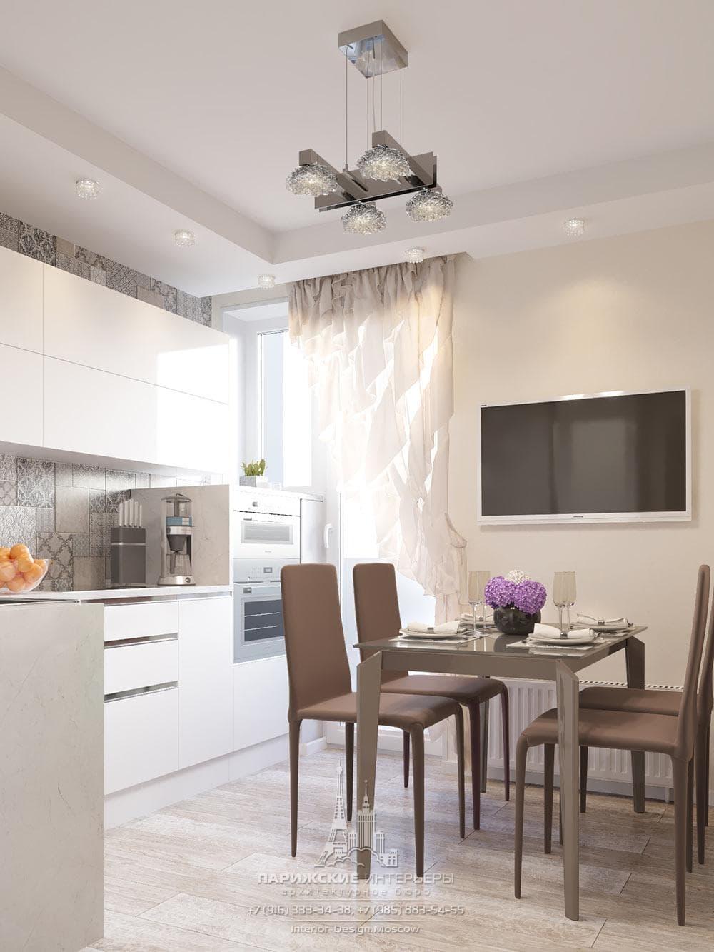 Современный интерьер кухни в светлых тонах с орнаментированной плиткой